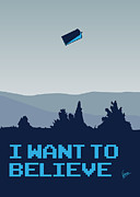 Classic Digital Art Metal Prints - My I want to believe minimal poster- tardis Metal Print by Chungkong Art