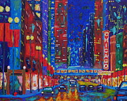 City Night Scene Paintings - My Kind of Town by J Loren Reedy