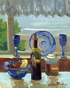Wine Glasses Paintings - My Kitchen on Vashon Island by Diane McClary