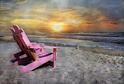 Topsail Island Prints - My Life as a Beach Chair Print by Betsy A Cutler East Coast Barrier Islands