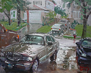 Lincoln Paintings - My Lincoln in the Rain by Ylli Haruni