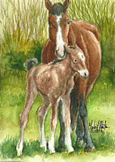 Mustang A Day Challenge Paintings - My Little One by Linda L Martin