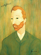 Famous Faces Painting Originals - My Modigliani Portrait of Vincent Van Gogh by Jerome Stumphauzer