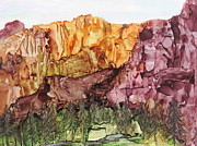 Canyons Paintings - My Mountains by Shirley Watts