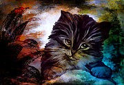Cute Kitten Digital Art Posters - My name is Goliath. Poster by Andrzej  Szczerski