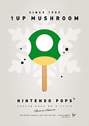 Icepops Posters - My NINTENDO ICE POP - 1 up Mushroom Poster by Chungkong Art