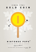 Luigi Digital Art Metal Prints - My NINTENDO ICE POP - Gold Coin Metal Print by Chungkong Art