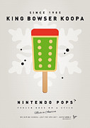 Super Mario Framed Prints - My NINTENDO ICE POP - King Bowser Framed Print by Chungkong Art