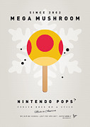 Super Mario Framed Prints - My NINTENDO ICE POP - Mega Mushroom Framed Print by Chungkong Art