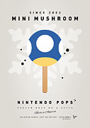 Luigi Digital Art Metal Prints - My NINTENDO ICE POP - Mini Mushroom Metal Print by Chungkong Art
