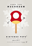 Super Mario Framed Prints - My NINTENDO ICE POP - Mushroom Framed Print by Chungkong Art