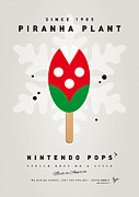 Super Mario Framed Prints - My NINTENDO ICE POP - Piranha Plant Framed Print by Chungkong Art