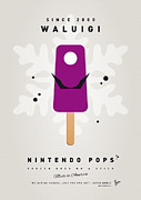 Nitendo Digital Art Metal Prints - My NINTENDO ICE POP - Waluigi Metal Print by Chungkong Art