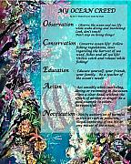 Sealife Tapestries - Textiles Metal Prints - My Ocean Creed Metal Print by Sue Duda