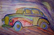 Tension Painting Posters - My old car Poster by Hilde Widerberg