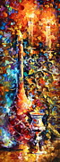 Wine-bottle Posters - My old Thoughts 2 Poster by Leonid Afremov