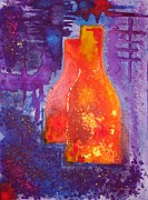 Antiques Paintings - My old wine bottles by Mario  Perez
