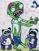Panda Mixed Media - My Pet Zombie #1 / Pandamonium by Laura Barbosa
