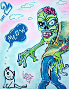 Cute Mixed Media Originals - My Pet Zombie #2 / Here Kitty Kitty by Laura Barbosa