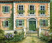 Gates Paintings - My Pink Italian Villa by Marilyn Dunlap