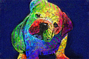 Bulldog Digital Art Posters - My Psychedelic Bulldog Poster by Jane Schnetlage