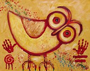Indian Tribal Art Paintings - My Red Primitive Owl by Carol Suzanne Niebuhr