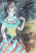 Featured Pastels Framed Prints - My Rendition of Singer In Green by Edgar Degas Framed Print by Billy Granneman