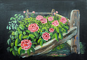 Split Rail Fence Originals - My Rose Garden by Carol L Miller