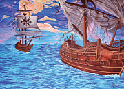 Pirates Digital Art Originals - My Ships Go Sailing by Sarah Tiffany King