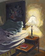 Night Lamp Painting Originals - My Side by Nancy  Parsons