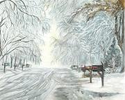 Winter Storm Painting Prints - My Slippery Street clr Print by Carol Wisniewski