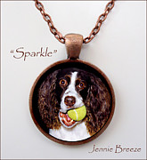 Dog Art Jewelry - My Sparkle-Custom Pendant by Jennie Breeze
