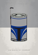 Star Wars Digital Art Posters - My Star Warhols Jango Fett Minimal Can Poster Poster by Chungkong Art