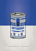 Star Metal Prints - My Star Warhols R2d2 Minimal Can Poster Metal Print by Chungkong Art