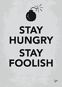 Vintage Typography Digital Art Metal Prints - My Stay Hungry Stay Foolish poster Metal Print by Chungkong Art