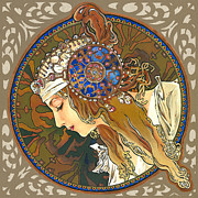Elena Yakubovich Metal Prints - My study of an Alphonse Mucha - Byzantine Head. The Blonde. Diagonal frame. Metal Print by Elena Yakubovich