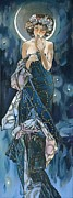 Elena Yakubovich Metal Prints - My study of an Alphonse Mucha - Moon - Elena Yakubovich Metal Print by Elena Yakubovich
