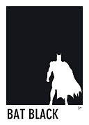 Retro Posters Prints - My Superhero 02 Bat Black Minimal Pantone poster Print by Chungkong Art
