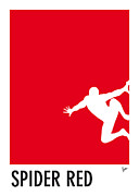 Game Digital Art - My Superhero 04 Spider Red Minimal Pantone poster by Chungkong Art