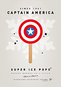 Minimalism Digital Art Posters - My SUPERHERO ICE POP - Captain America Poster by Chungkong Art