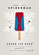 Retro Posters Prints - My SUPERHERO ICE POP - Spiderman Print by Chungkong Art