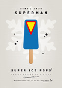 Retro Posters Prints - My SUPERHERO ICE POP - Superman Print by Chungkong Art