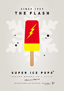 Super Hero Metal Prints - My SUPERHERO ICE POP - The Flash Metal Print by Chungkong Art