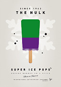 Super Hero Metal Prints - My SUPERHERO ICE POP - The Hulk Metal Print by Chungkong Art