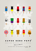Retro Posters Prints - My SUPERHERO ICE POP UNIVERS Print by Chungkong Art