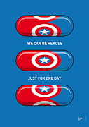 Superheroes Framed Prints - My SUPERHERO PILLS - Captain America Framed Print by Chungkong Art