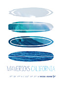 Surfer Art Metal Prints - My Surfspots poster-2-Mavericks-California Metal Print by Chungkong Art