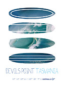 Mavericks Posters - My Surfspots poster-5-Devils-Point-Tasmania Poster by Chungkong Art