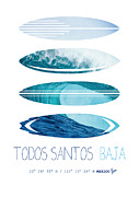 Surfer Art Metal Prints - My Surfspots poster-6-Todos-Santos-Baja Metal Print by Chungkong Art