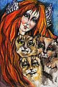 Ginger Drawings Posters - My Three Cats Poster by Angel  Tarantella